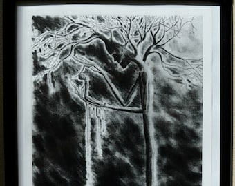 """Original Art Print,""""Of Trees and Men"""",Sinister,Tree People,Gothic Art,Black and White Art Prints,Creepy Charcoal Drawings,Art Prints"""