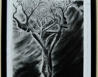 """Original Art Print,""""Torn and Divided"""",Sinister,Tree People,Gothic Art,Black and White Art Prints,Creepy Charcoal Drawings,Art Prints"""