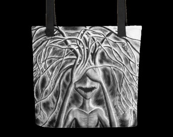 "Book Bags, Tote: Don't Look 15""x15"""
