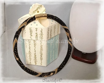 Crochet pattern PDF necklace gold silver beads