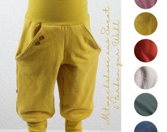Mitwachshose aus Sweat mit Knopfdetail, sechs Farben zur Auswahl, gelb, altrosa, terrakotta, steingrau, tannengrün, dunkelblau