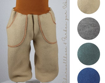 Mitwachshose aus Wollwalk/ Schurwollhose, four colors to choose from, fir green, jeans blue, camel brown, gray-brown-mottled