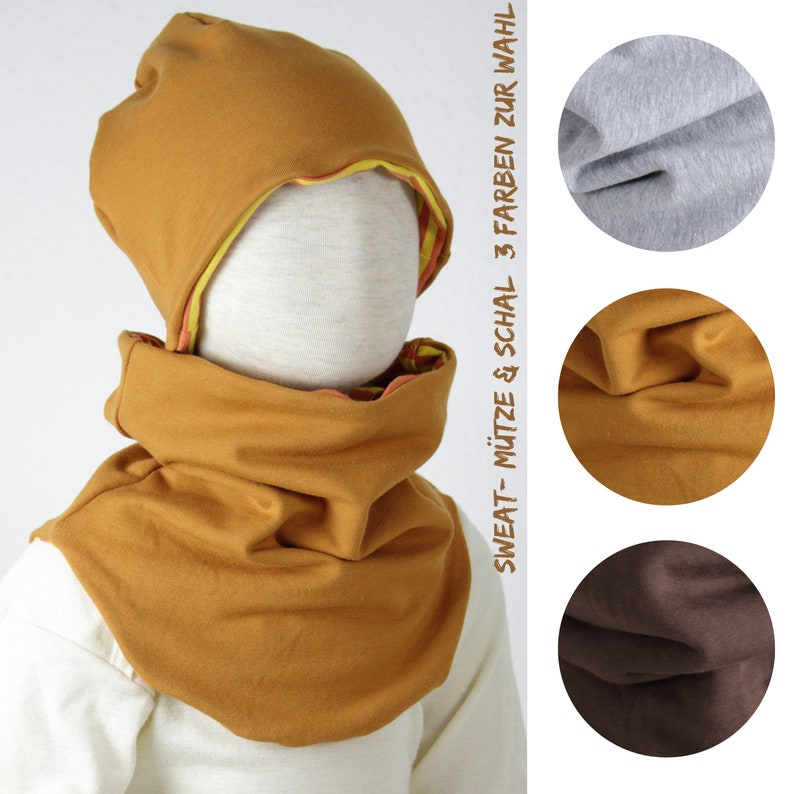 Beanie in cotton sweat three colors to choose from set hat & image 0
