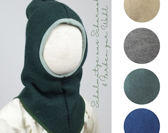 Hatch hat / scarf cap made of virgin wool, four colours to choose from, fir green, jeans blue, camel brown, grey-brown mottled