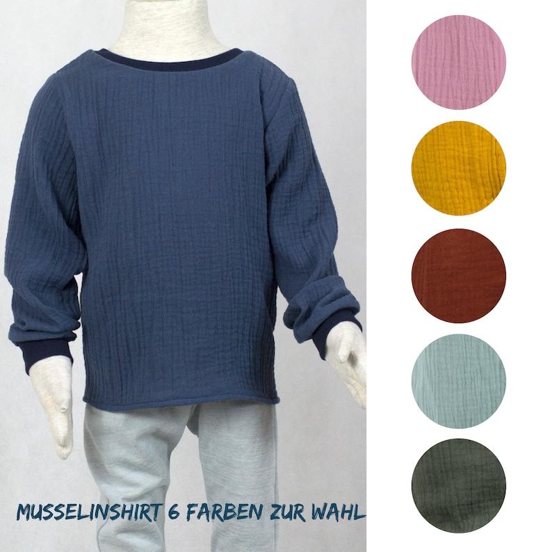 Long sleeve shirt in muslin six colors to choose from ochre image 0