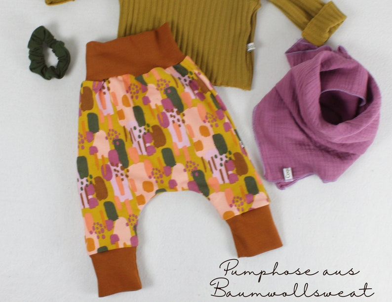 Pump pants made of cotton sweat pattern mix print with the image 0