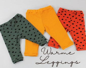 Warm leggings in cotton sweat/ cotton knit, three colors to choose from: tin green, tin red, ochre yellow