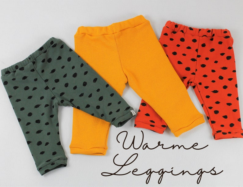 Warm leggings in cotton sweat/ cotton knit three colors to image 0