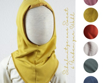 Reversible hatch made of sweat, six colors to choose from, yellow, old pink, terracotta, fir green, stone gray dark blue