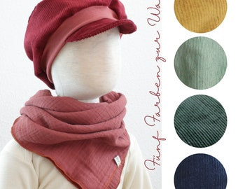 Michel hat in cord, five colours to choose from, ochre, fir, dark blue, wine red, mint green