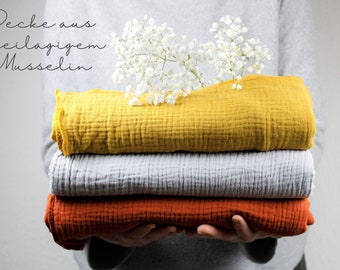 Blanket/ cloth in three-layer muslin, three colours to choose from, terracotta, mustard yellow, stone grey