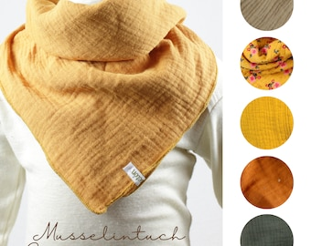 Cloth in muslin/ muslin cloth, five colours to choose from, sand, cinnamon, ochre, mustard, olive, flowers, beige