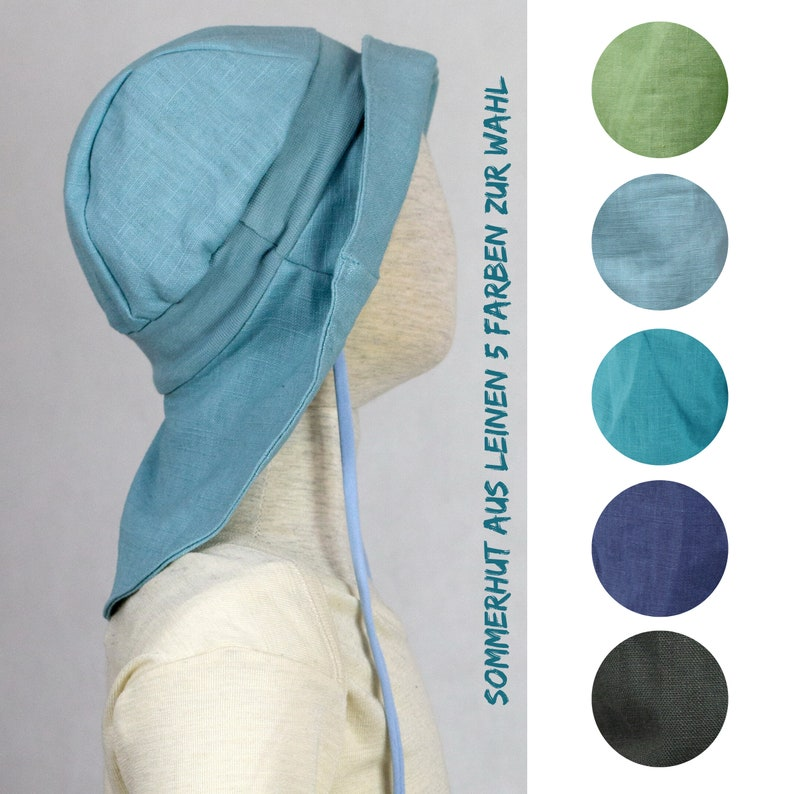 Sun hat / sun hat made of linen five colors to choose from image 0