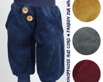 Cord button pants for growing up, four colours to choose from, fir, dark blue, golden brown, bordeaux