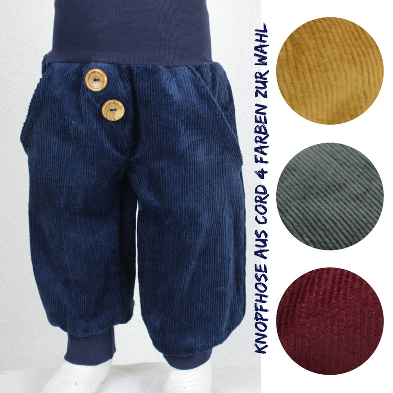 Cord button pants for growing up four colours to choose from image 0