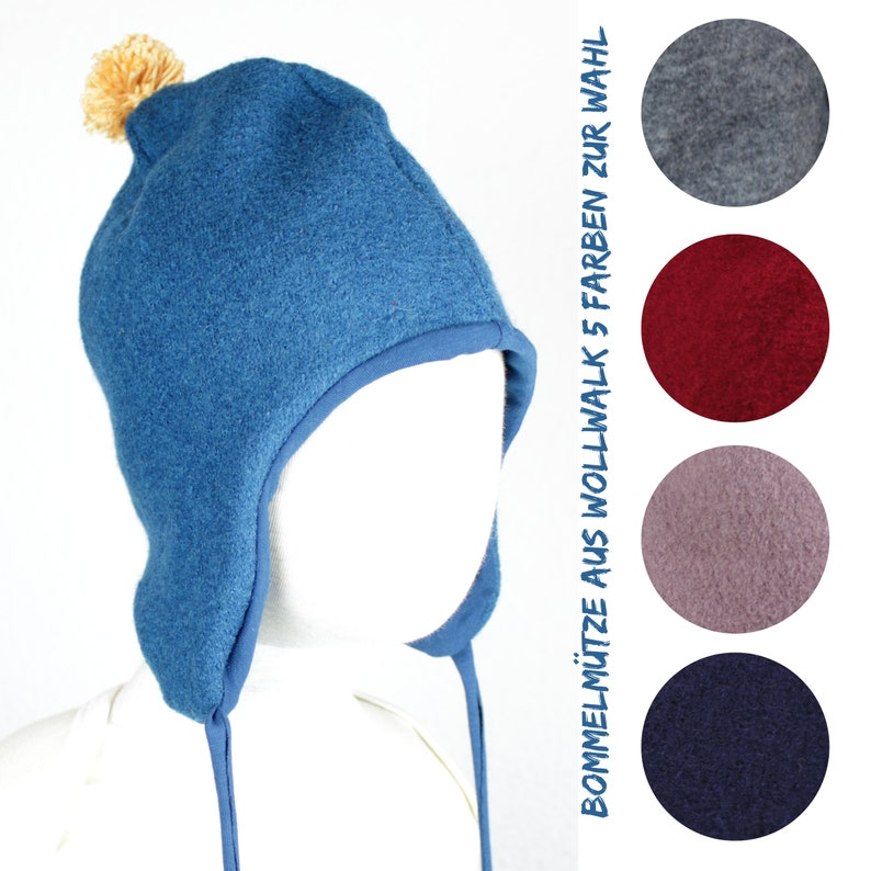 Bobble hat in wool walk dwarf hat five colors to choose image 0