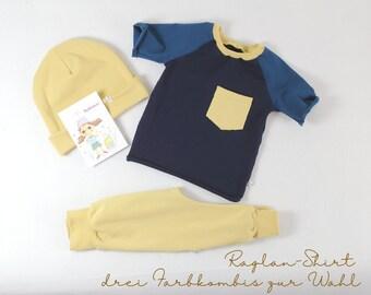 Raglan shirt, short sleeve shirt, three colour combos to choose from, blue, rust, ochre