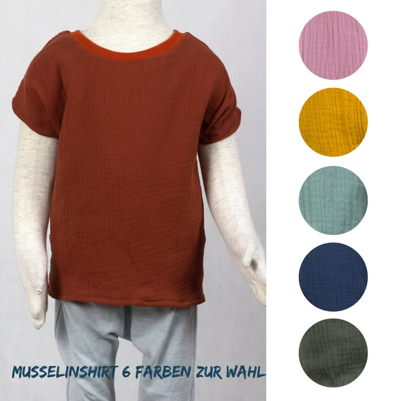 Short sleeve shirt in muslin six colors to choose from image 0