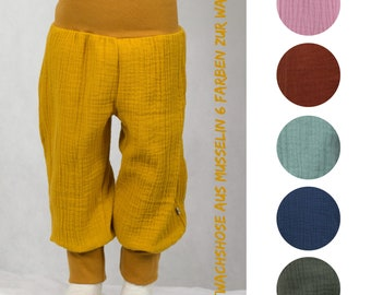 Co-wax trousers made of musselin, six colors to choose from, blue, ochre, olive, mint, old pink, terracotta