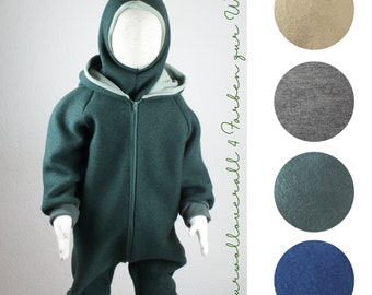 Overalls made of virgin wool, walkoverall, four colors to choose from, fir green, jeans blue, camel brown, gray-brown-mottled