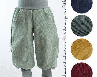 Corduroy trousers, five colours to choose from, ochre, fir, dark blue, wine red, mint green, corduroy trousers