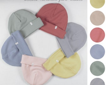 Beanie with cover, beanie in ribbed cuffs, six colours to choose from, wine red, citrus yellow, rose, sage, dove blue, stone grey