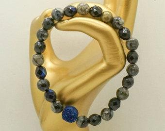 que sera bracelet, beaded bracelet, women's beaded jewelry, blue druzy bracelet