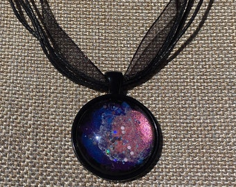 Across Space & Time 3 - Hand Painted Glass Pendant