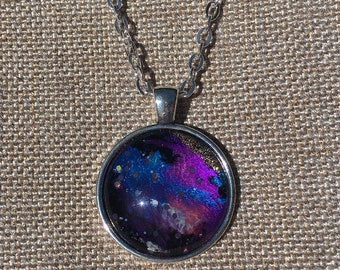 Across Space & Time 4 - Hand Painted Glass Pendant