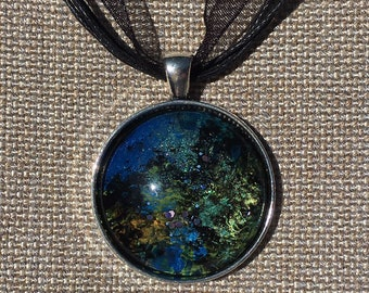 Across Space & Time - Hand Painted Glass Pendant