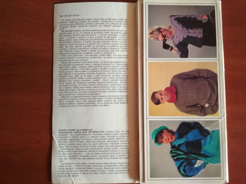 Knitting patterns 24 pieces Chunky knit male and female sweaters Set of postcards with patterns description Russian Magazine knitting 90s