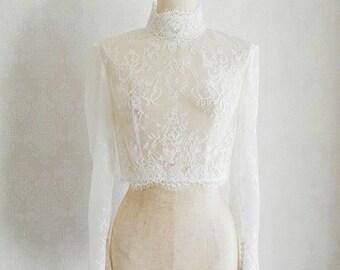 White Long sleeve wedding bolero, Bridal top ivory,tulle women jacket,turtleneck lace bolero,Custom Size