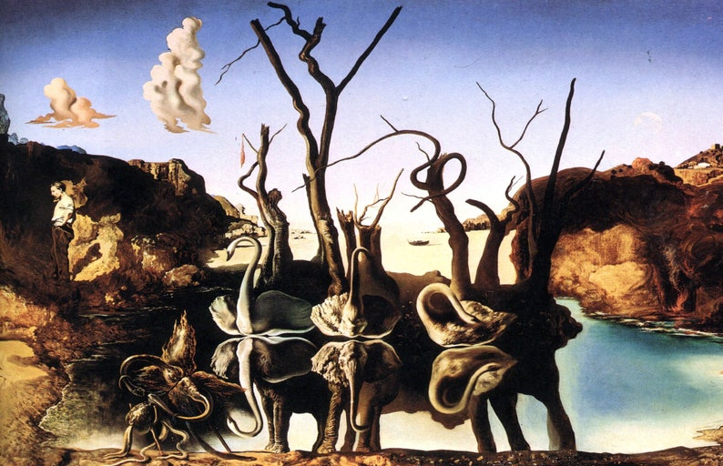 Salvador Dali Print - Swans Reflecting Elephants (Picture Poster Art  Artwork Painting Drawing Surrealism Expressionism Post-Impressionism)