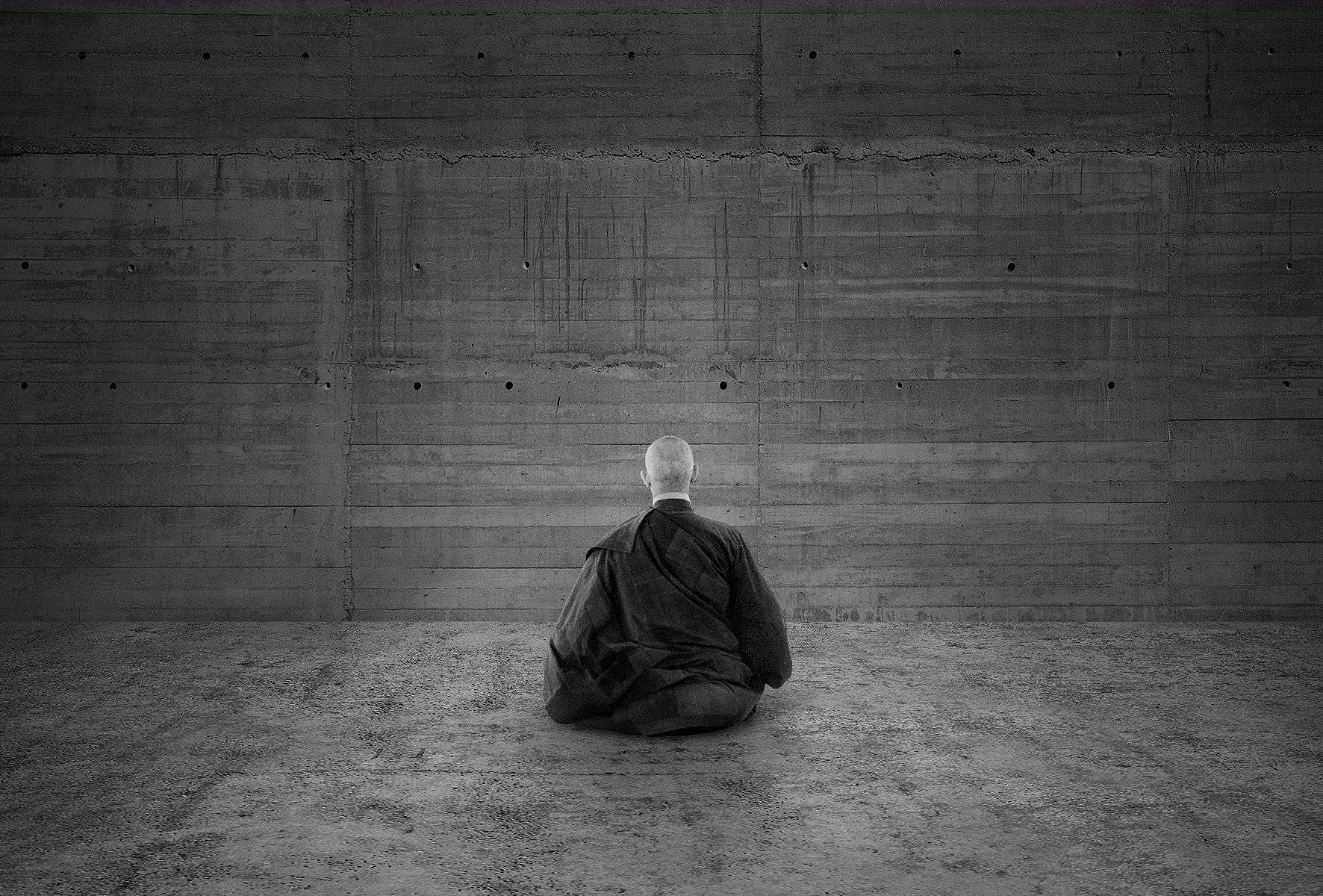 Buddhism Print Black White Buddhist Monk In Meditation