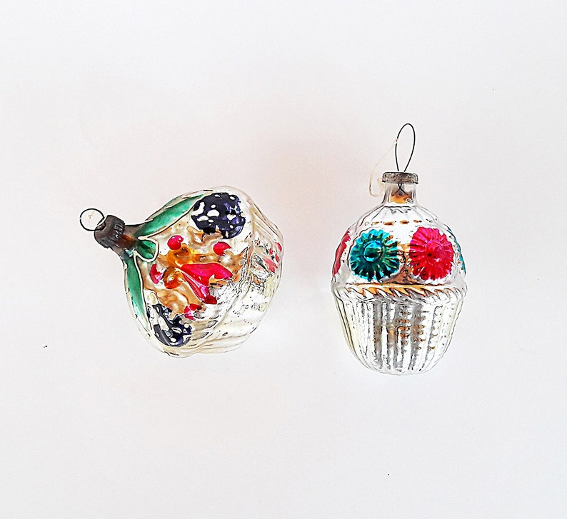 Food Baskets Glass Christmas Ornaments Soviet 60s Vintage Russian New Year Tree Decor Toys Ussr