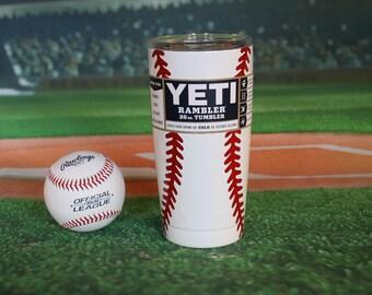 Custom Yeti Tumbler, Rambler, Yeti 20 oz Rambler, Baseball, Baseball Mom, Powder Coated