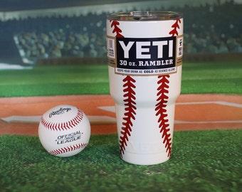 Custom Yeti Tumbler, Yeti, Powder Coated Yeti 30oz, Baseball Tumbler, Baseball Yeti