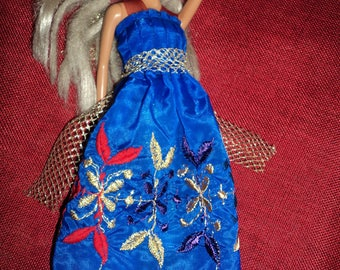 Clothes for Barbie Princess embroidered blue Moroccan fabric bright colors