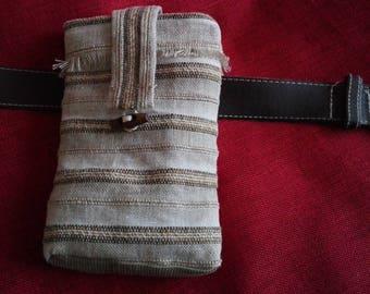 smartphone with linen clutch rustic hanging belt
