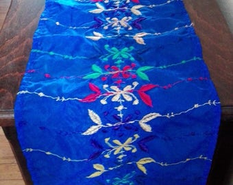 Moroccan fabric table runner blue veil with motifs embroidered all colors