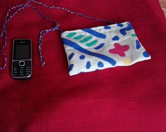 clutch made of thick fabric white/blue/red/yellow/green