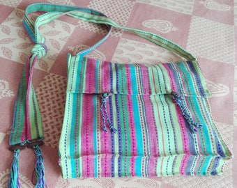Handbag or purse or briefcase or laptop bag in cotton striped multicolor ethnic kind washable and ironable