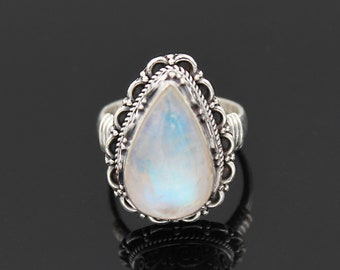 Moonstone Ring Double Natural Rainbow Moonstone 925 Sterling Silver Ring Boho Statement Ring June Birthstone Square Circle Geometric Ring