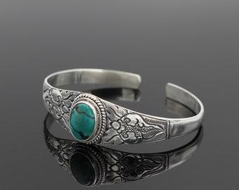 Turquoise 925 Silver Cuff Bracelet Open Sterling Silver Cuff Adjustable Bracelet Healing Stone Turquoise Cuff Bracelet925-Silver Jewelry