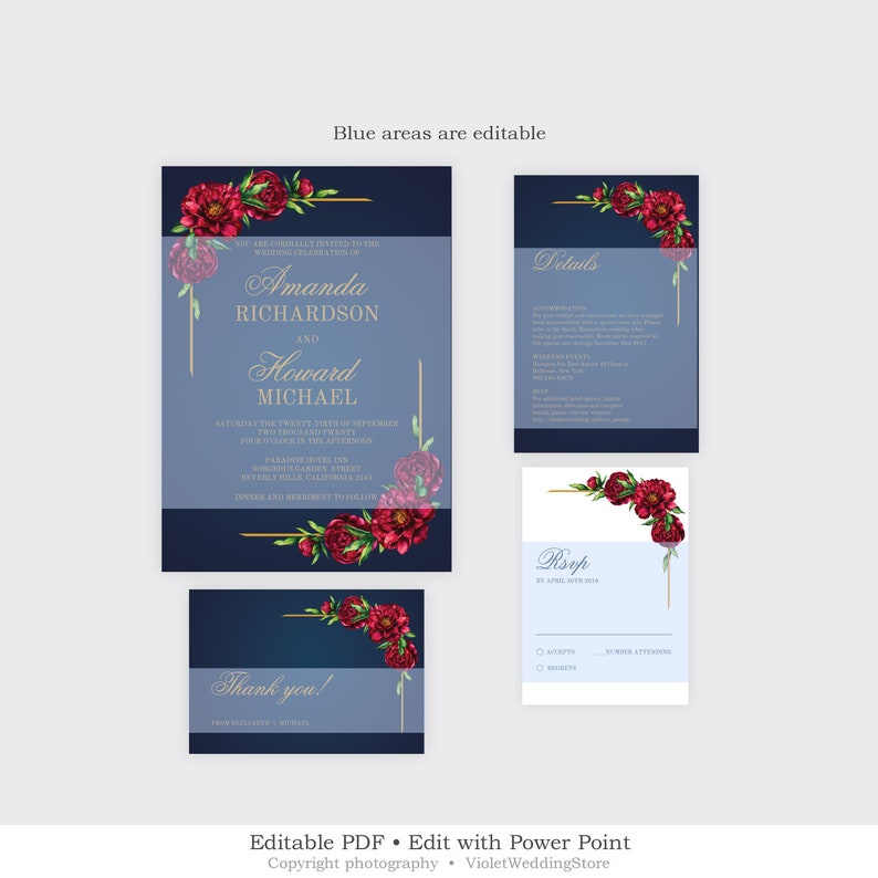 Gold Wedding INSTANT DOWNLOAD NRPS49 Red Peonies Wedding Suite Printable Navy Wedding Invitation Set Editable Floral Wedding Invitation