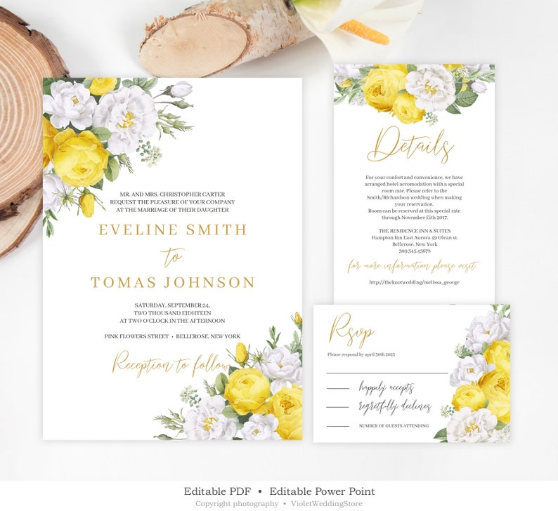 Yellow Floral Wedding Invitation Template Editable Suite White Roses Set INSTANT DOWNLOAD YWFS72