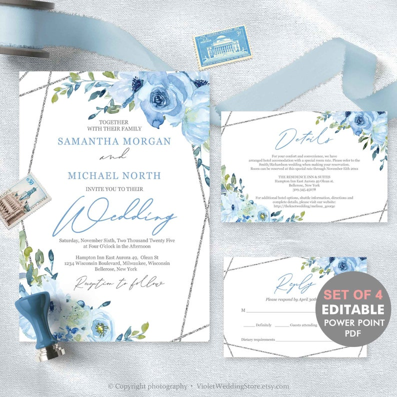 graphic about Etsy Wedding Invitations Printable titled Blue Floral Marriage Invitation Template, Silver Geometric Marriage Invite Printable, Editable Wedding day Invitation Mounted Instantaneous Obtain SBFS58