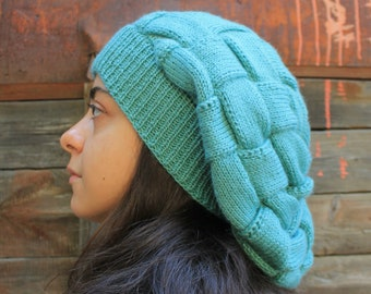 a99c737a968 Handknitted Slouchy woolen hat Turquoise blue oversize Hipster hat French  Wool Beret Super slouchy beanie patchwork boho hat Winter hat