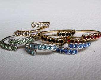 Gold or silver Adjustable ring with swarovski stones / / ring with small colored stones / / personalized ring / / Adjustable ring