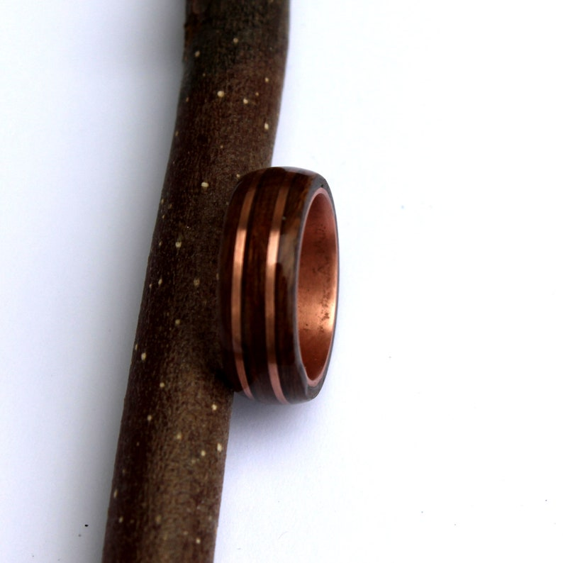 Rosewood and mahogany ring on copper ring